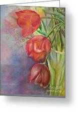 Three In A Vase Greeting Card