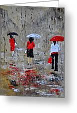 Three In The Rain Greeting Card