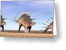 Three Kentrosaurus Dinosaurs Standing Greeting Card by Elena Duvernay