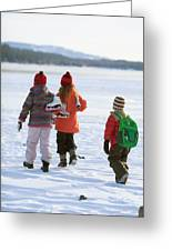 Three Kids Heading Out To Ice Skate Greeting Card