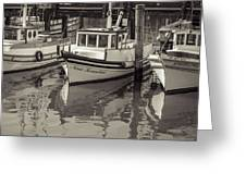 Three Little Boats Sepia Greeting Card