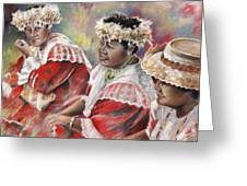 Three Mamas From Tahiti Greeting Card