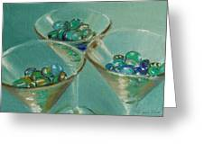 Three Martini Glasses With Jewels Greeting Card