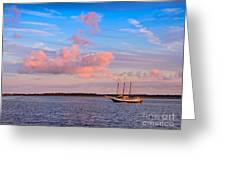 Three Masted Schooner At Anchor In The St Marys River Greeting Card