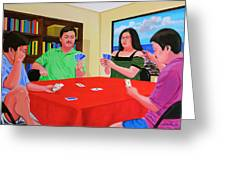 Three Men And A Lady Playing Cards Greeting Card