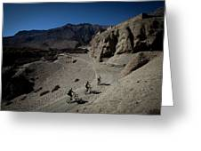 Three Men Seen From Above Ride Mountain Greeting Card