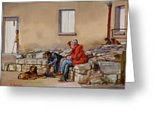 Three Men With A Dog Greeting Card