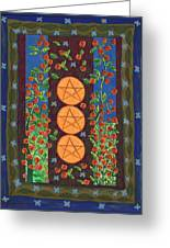 Three Of Pentacles Greeting Card
