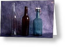 Three Old Empty Bottles On Painted Background Greeting Card by IB Photo