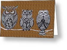 Three Owls On A Branch Leopard Print Greeting Card