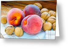 Three Peaches And Some Walnuts Greeting Card