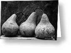 Three Pear Still Life Black And White Greeting Card by Edward Fielding