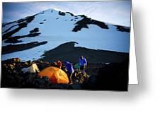Three People Set Up Camp On Mount Adams Greeting Card