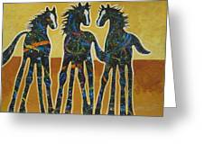 Three Ponies Greeting Card by Lance Headlee