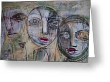 Three Portraits On Paper Greeting Card