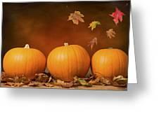 Three Pumpkins Greeting Card