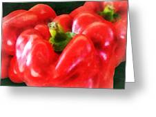 Three Red Peppers Greeting Card