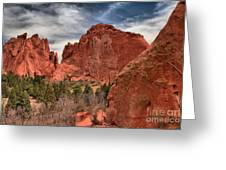Three Red Towers Greeting Card