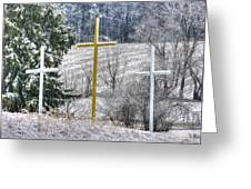 Three Roadside Crosses - Mount Airy Md Winter Greeting Card