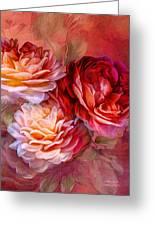 Three Roses Red Greeting Card Greeting Card