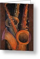 Three Sax Greeting Card by Susanne Clark