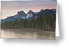 Three Sisters And Bow River Canmore Greeting Card