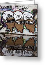 Three Skulls Graffiti Greeting Card