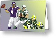 Three Stages Of Bret Favre Greeting Card