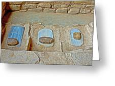 Three Stones For Grinding Corn In Spruce Tree House In Mesa Verde National Park-colorado Greeting Card