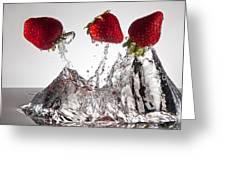 Three Strawberries Freshsplash Greeting Card