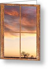Three Trees Sunrise Barn Wood Picture Window Frame View Greeting Card