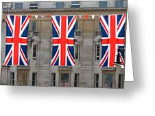 Three Union Jack Flags Greeting Card