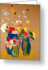 Three Vases Of Flowers Greeting Card by Odilon Redon