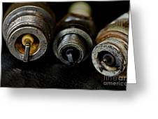 Three Vintage Rusty Spark Plugs  Greeting Card by Wilma  Birdwell