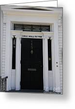 Three Whale Oil Row - Black Door - New London Greeting Card