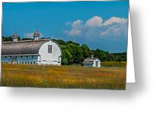 Three White Barns Greeting Card