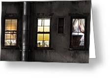 Three Windows And Pipe - The Story Behind The Windows Greeting Card by Gary Heller