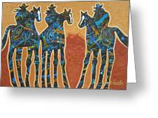 Three With Rope Greeting Card by Lance Headlee
