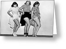 Three Women Lift Their Skirts Greeting Card by Underwood Archives