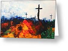 Three Wooden Crosses Greeting Card