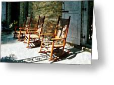 Three Wooden Rocking Chairs On Sunny Porch Greeting Card by Susan Savad