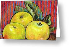 Three Yellow Apples Greeting Card