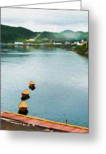 Three Yellow Boats Greeting Card