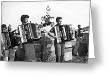 Three Young Accordion Players Greeting Card