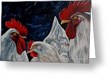 Three's A Crowd   -    Roosters -chicken Greeting Card