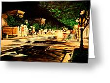Through Some Place A Rainy Night Greeting Card