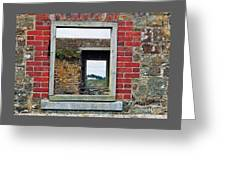 Through Windows At Charles Fort, Ireland Greeting Card