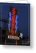 Thunderbolt Rollercoaster Neon Sign Greeting Card