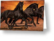 Thundering Hooves Greeting Card by Jean Hildebrant