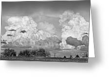 Thunderstorm Clouds And The Little House On The Prarie Bw Greeting Card